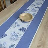 Úžitkový textil - LINA-kvetinové šálky na sivom melíre-stredový obrus - 10779579_