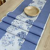 Úžitkový textil - LINA-kvetinové šálky na sivom melíre-stredový obrus - 10779580_