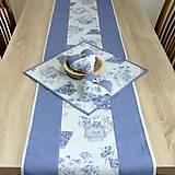 Úžitkový textil - LINA-kvetinové šálky na sivom melíre-stredový obrus - 10779581_