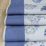 Úžitkový textil - LINA-kvetinové šálky na sivom melíre-stredový obrus - 10779582_