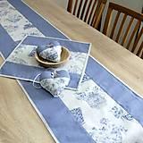Úžitkový textil - LINA-kvetinové šálky na sivom melíre-stredový obrus - 10779583_