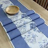 Úžitkový textil - LINA-kvetinové šálky na sivom melíre-stredový obrus - 10779604_