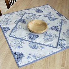 Úžitkový textil - LINA-kvetinové šálky na sivom melíre-štvorec - 10779590_