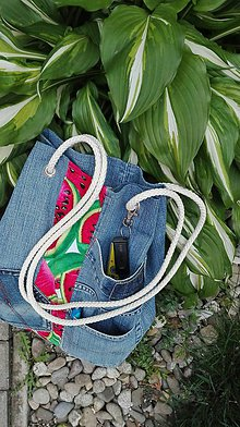 Batohy - Rifľová taška / batoh 2 v 1  z recyklovaného denimu - 10779322_