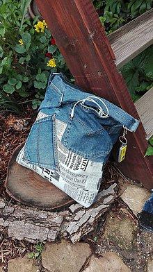 Kabelky - Crossbody kabelka z recyklovanej rifľoviny - 10779476_