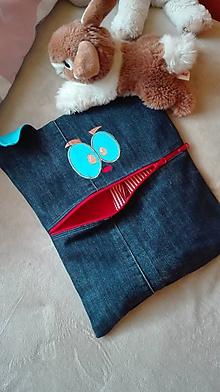 Úžitkový textil - pyžamko žrút z recyklovanej rifľoviny - 10779547_