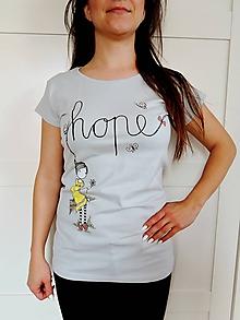 Tričká - Tričko - HOPE, svetlo šedá - 10778912_