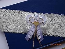 Bielizeň/Plavky - Vintage podväzok v ivory farbe, biela mašlička - 10777580_