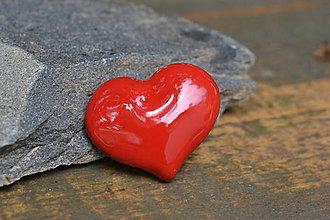 Odznaky/Brošne - brož srdce (Červená) - 10778999_