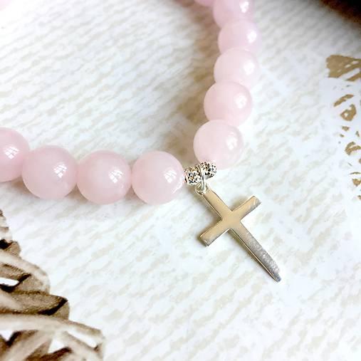 eead973bd Elastic Rose Quartz Bracelet Cross AG925 / Elastický náramok ruženín so strieborným  krížom