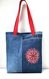 Veľké tašky - Riflová taška s mandalou - 10780686_