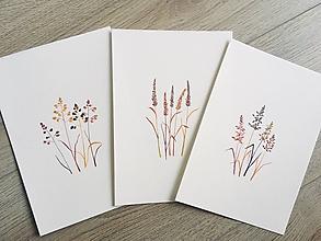 Obrazy - Trio originál akvarelov Poľné trávy - 10780144_