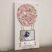 Rámiky - Gombíkový obraz - Balón s fotkou pastelový s kartičkami - 10779976_