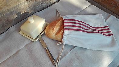 Úžitkový textil - Vrecúško na chlieb a pečivo z ručne tkaného ľanového plátna 33 x 31 cm - 10780266_