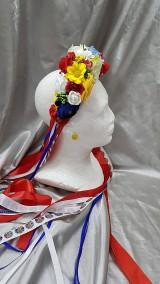 Ozdoby do vlasov - Farebná kvetinová folklórna parta so stuhami - 10779899_