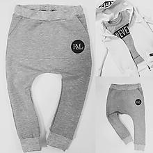 Detské oblečenie - Tepláky šedý melír - RVL - 10780552_