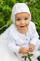 Detské čiapky - Ultraľahký čepček batist & ivory s krajkou (Ivory maslová) - 10780135_