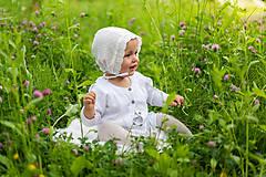 Detské čiapky - Ultraľahký čepček batist & ivory s krajkou (Ivory maslová) - 10780136_