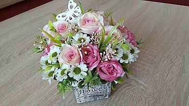 Dekorácie - Darčekový flower aranžmán - 10780687_