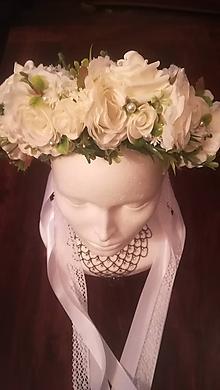 Ozdoby do vlasov - Biela ruža - čelenka do vlasov - 10780636_