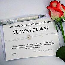 Darčeky pre svadobčanov - Vezmeš si ma? Darček náramok so želaním - 10781238_