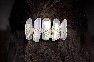 Ozdoby do vlasov - Spona bielo zlatá - 10781857_