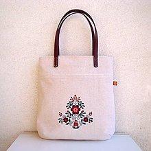 Veľké tašky - Ľanová taška na veľ. A4 / folk 3  (bordová) - 10780931_