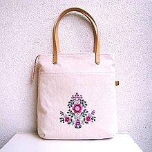 Veľké tašky - Ľanová taška na veľ. A4 / folk 3  (ružová) - 10780938_