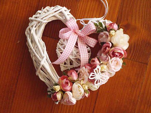 9046b4e1d Vintage srdce ružovo-smotanové s motýlikom 20cm / erikak - SAShE.sk ...