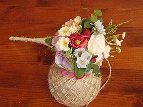 Dekorácie - Letná kytička s malinami pre učiteľku v kornúte - 10780586_