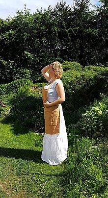Šaty - Dobová ľanová zástera - 10781534_