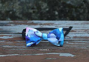 Doplnky - Pánsky motýlik (Modrá- vzor kvety) - 10783247_