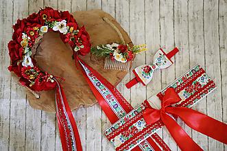 Ozdoby do vlasov - Svadobná ľudová kvetinová parta maky v červenom - 10782247_