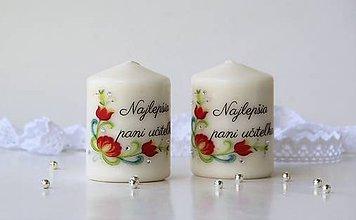 Svietidlá a sviečky - Duo dekoračných sviečok pre pani učiteľky - 10782477_