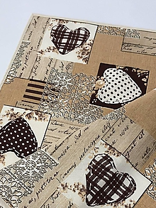 Úžitkový textil - Srdce hnede - 10783813_