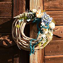 Dekorácie - Modrý venček s hortenziou - 10783898_