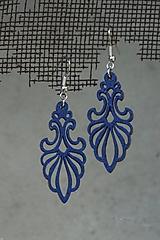 Náušnice - Ornament v modrom