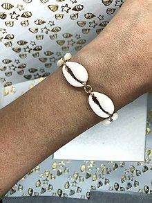 Náramky - Luxusný mušlový náramok zlatý (striebro 925) - 10783016_