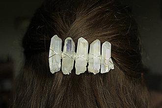 Ozdoby do vlasov - Spona bielo strieborná - 10782596_