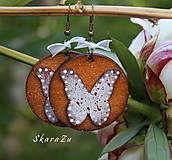 Náušnice - Motýle natur - 10783607_