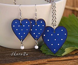 Sady šperkov - Heart dots Blue // set - 10783645_