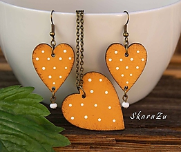 Sady šperkov - Heart dots Amber // set - 10783822_