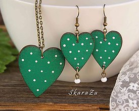 Sady šperkov - Heart dots Green // set - 10783827_
