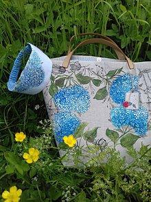 """Veľké tašky - Ľanová taška maľovaná  """"Hortenzia"""" + čelenka + puzdro na okuliare - 10785262_"""