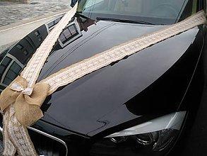Kytice pre nevestu - vintage výzdoba svadobného auta z jutovej stuhy - 10785372_