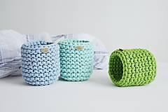 Košíky - Pletený košík/kvetináčik - farby mora - 10785830_