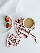 Úžitkový textil - Srdiečkové lístky - ružové (malý: 11 x 10 cm) - 10785898_