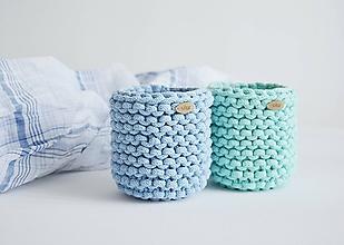 Košíky - Pletený košík/kvetináčik - farby mora (Modrá) - 10785845_