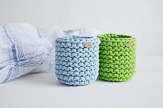 Košíky - Pletený košík/kvetináčik - farby mora (Zelená) - 10785848_
