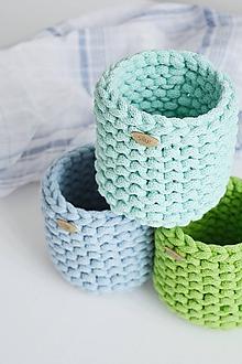 Košíky - Pletený košík/kvetináčik - farby mora (Tyrkysová) - 10785850_